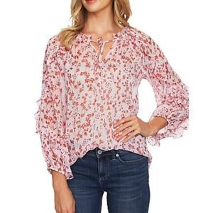CeCe floral ruffle blouse NWT